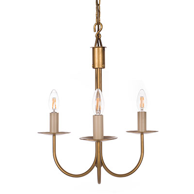Three Arm Classic Pendant Light in Old Gold