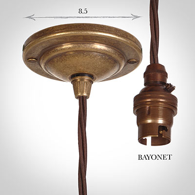 Antiqued Brass Rose 50cm Dark Brown Cable (BC)