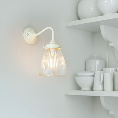 Fisher Wall Light in Plain Ivory