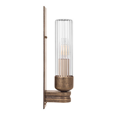 Raydon Wall Light in Antiqued Brass (Fluted Glass)