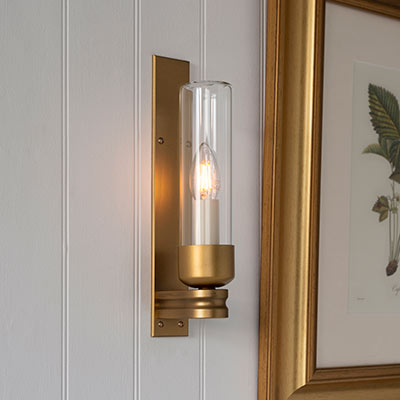 Raydon Wall Light in Old Gold (Plain Glass)