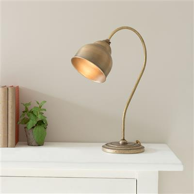 Wharton Table Lamp in Antiqued Brass with AntiquedBrass Shade
