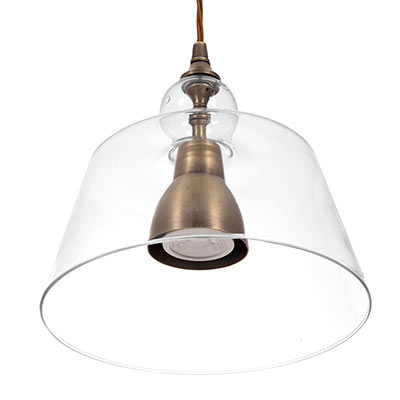 Lovell Glass Pendant Light in Antiqued Brass