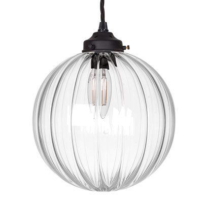 Fulbourn Glass Pendant Light in Matt Black