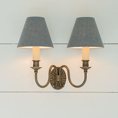 Reeded Wall Light in Antiqued Brass