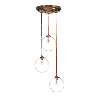 Holborn Triple Pendant Rose in Antiqued Brass