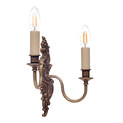 Left Handed Double Rococo Wall Light in Antiqued Brass