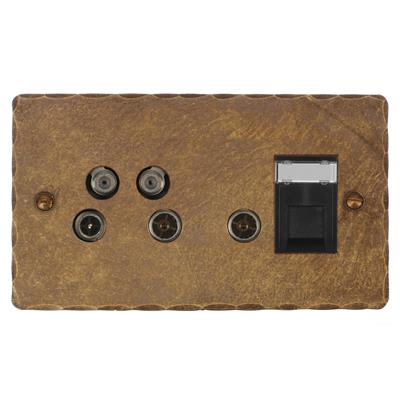 Sky Plus & Satellite Socket Antiqued Brass(discontinued, only stock shown available)