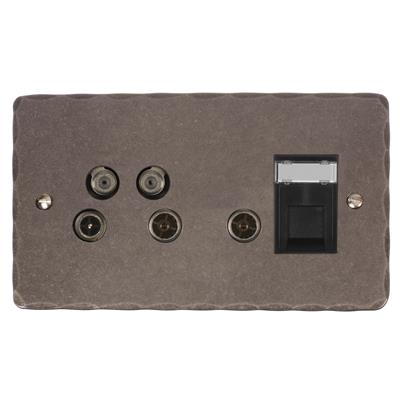 Sky Plus & Satellite Socket Polished Hammered(discontinued, only stock shown available)
