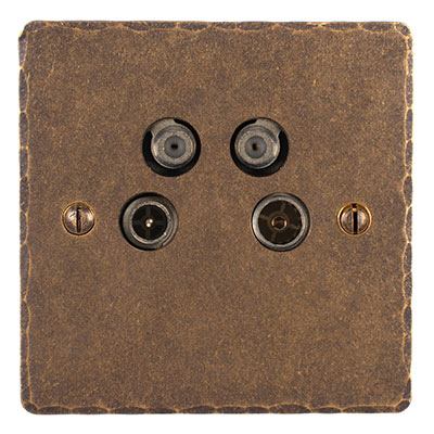 4 Way Satellite Socket Antiqued Brass Hammered Plate (Sat/TV/Return/Radio)