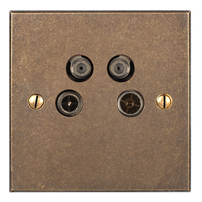 4 Way Satellite Socket Antiqued Brass Bevelled Plate (Sat/TV/Return/Radio)