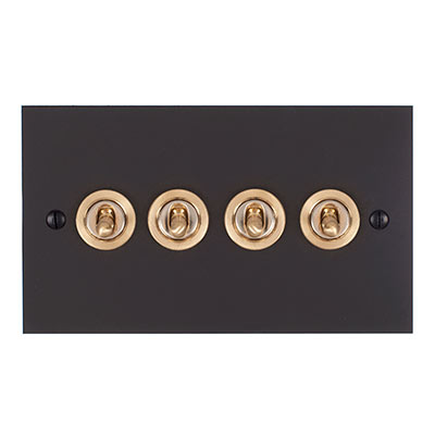 4 Gang Brass Dolly Switch Beeswax Bevelled Plate