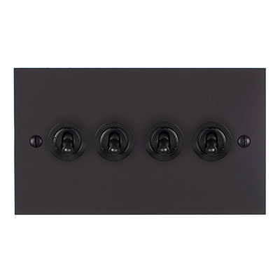 4 Gang Black Dolly Switch Beeswax Bevelled Plate