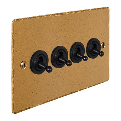 4 Gang Black Dolly Switch Old Gold Hammered(discontinued, only stock shown available)