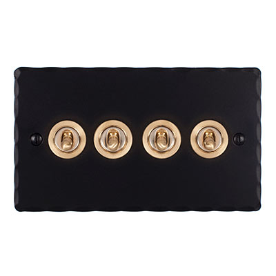 4 Gang Brass Dolly Switch Matt Black Hammered Plate