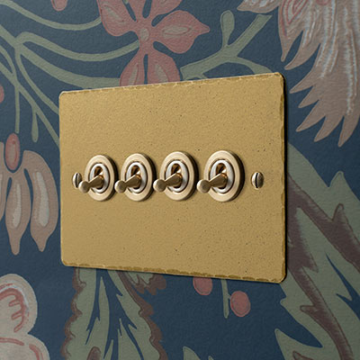 4 Gang Brass Dolly Switch Old Gold Hammered Plate