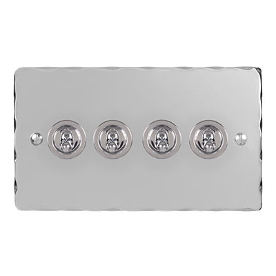 4 Gang Chrome Dolly Switch Nickel Hammered Plate