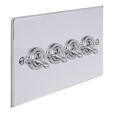 4 Gang Chrome Dolly Switch Nickel Bevelled Plate