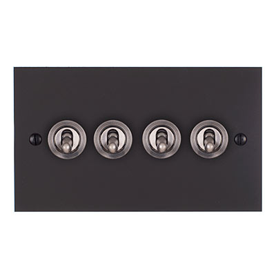 4 Gang Steel Dolly Switch Beeswax Bevelled Plate