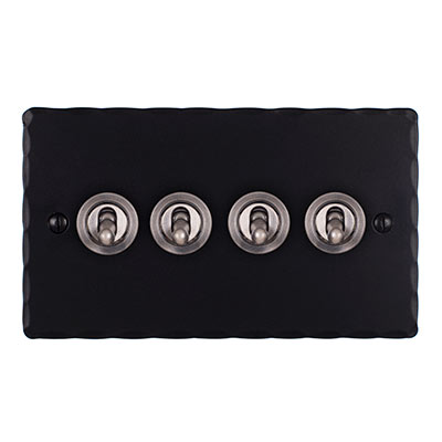 4 Gang Steel Dolly Switch Matt Black Hammered Plate