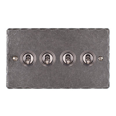 4 Gang Steel Dolly Switch Polished Hammered Plate