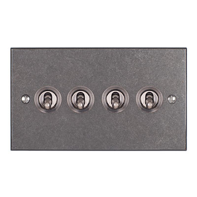 4 Gang Steel Dolly Switch Polished Bevelled Plate