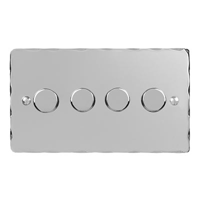 4 Gang Rotary Dimmer Nickel Hammered Plate
