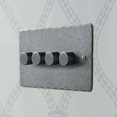 4 Gang Rotary Dimmer in Polished with Hammered Plate