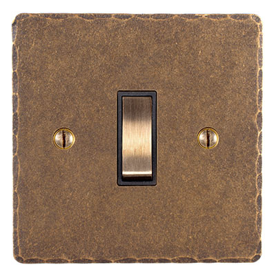 Double Pole Isolator (No Neon) Antiqued Brass Hammered Plate, Brass Switch