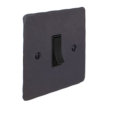 Double Pole Isolator (No Neon) Beeswax Hammered Plate, Black Switch