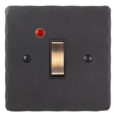 Double Pole Isolator Neon Brass Switch Bevelled