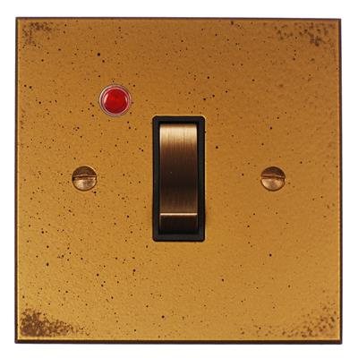 Double Pole Isolator (Neon) Old Gold Bevelled Plate, Brass Switch