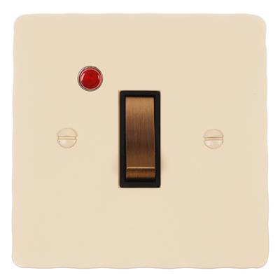Double Pole Isolator (Neon) Plain Ivory Hammered Plate, Brass Switch