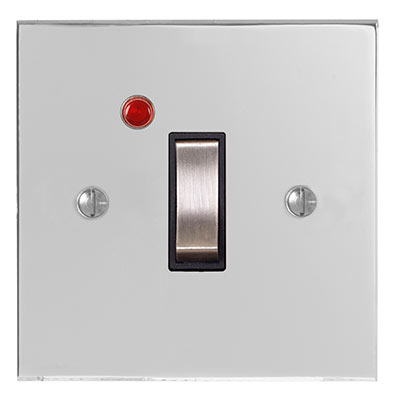 Double Pole Isolator (Neon) Nickel Bevelled (discontinued, only stock shown available)