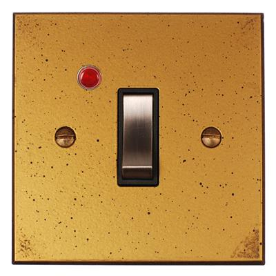 Double Pole Isolator (Neon) Old Gold Bevelled Plate, Steel Switch (discontinued)