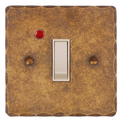 Double Pole Isolator (Neon) Antiqued Brass Hammered Plate, White Switch