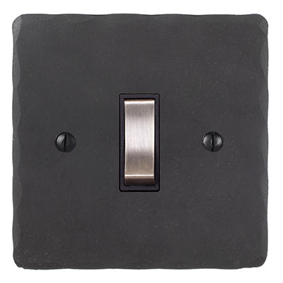 Double Pole Isolator No Neon Steel Switch Hammered