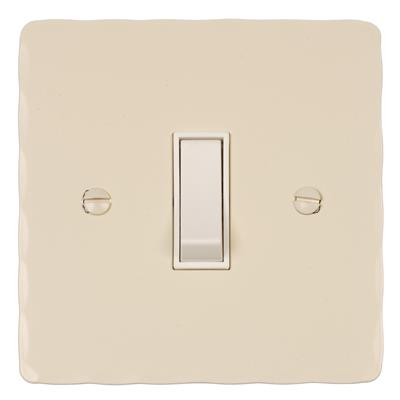 Double Pole Isolator (No Neon) Plain IvoryHammered Plate, White Switch