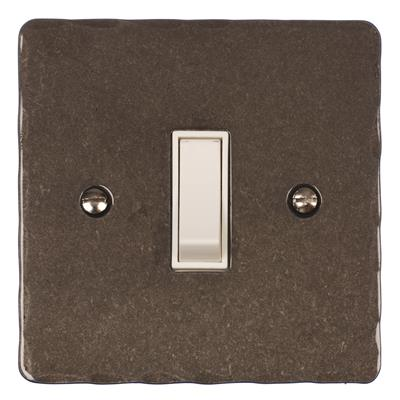 Double Pole Isolator (No Neon) Polished Hammered Plate, White Switch