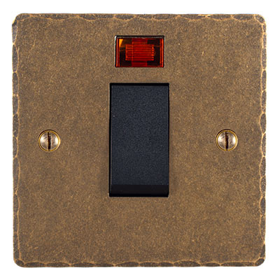 45AMP COOKER SWITCH ANTIQUED BRASS HAMMERED PLATE