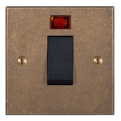 Black 45amp Cooker Switch Bevelled Plate