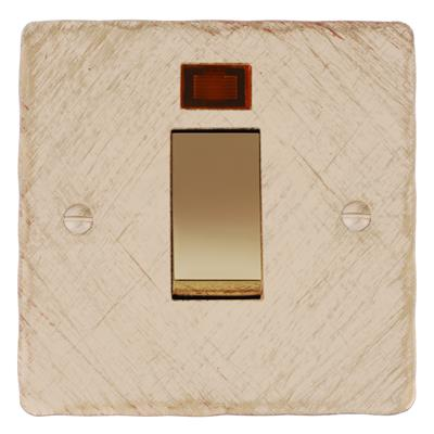 45amp Cooker Switch Old Ivory Hammered Plate,Brass Insert