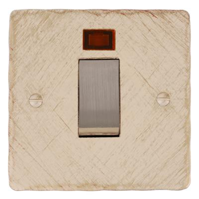 45amp Cooker Switch Old Ivory Hammered Plate, Steel Insert