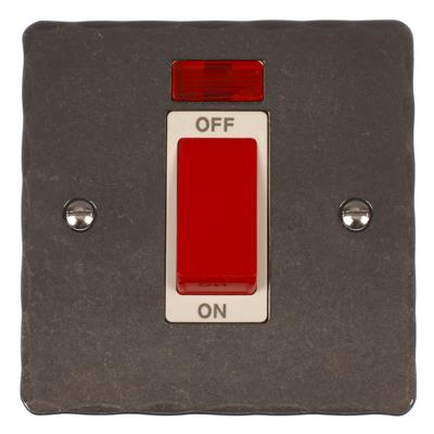 45amp Cooker Switch Polished Hammered Plate,(discontinued, only stock shown available)