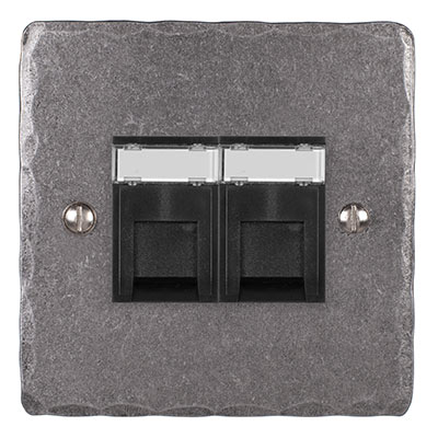 Combined BT Master/RJ45 Socket Polished Hammered Plate, Black Insert
