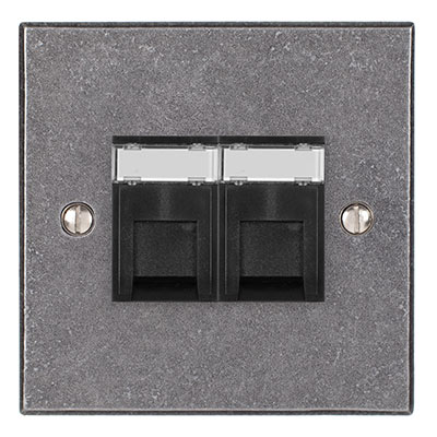 Combined BT Master/RJ45 Socket Polished Bevelled Plate, Black Insert