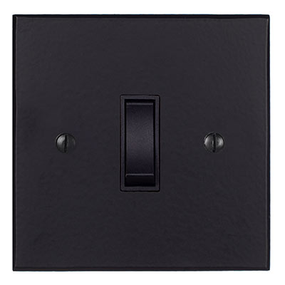 1 Gang Black Grid Switch Matt Black Bevelled Plate