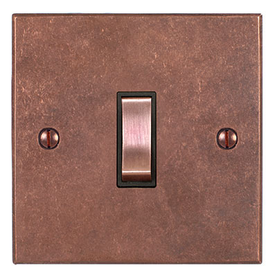1 Gang Copper Grid Switch Heritage Copper BevelledPlate