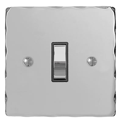 1 Gang Chrome Grid Switch Nickel Hammered Plate