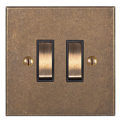2 Gang Brass Grid Switch Antiqued Brass Bevelled Plate